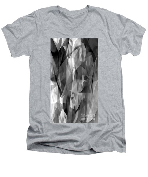 Men's V-Neck T-Shirt featuring the digital art Abstract Black And White Symphony by Rafael Salazar