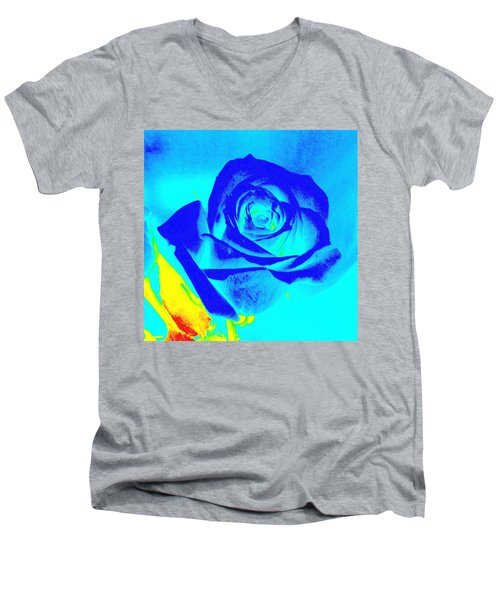 Single Blue Rose Abstract Men's V-Neck T-Shirt