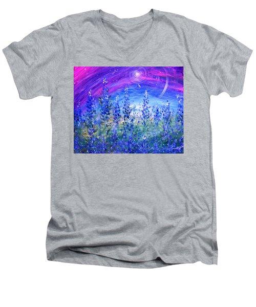 Abstract Bluebonnets Men's V-Neck T-Shirt