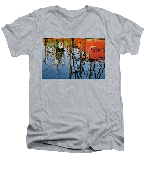 Abstract Boat Reflections Iv Men's V-Neck T-Shirt