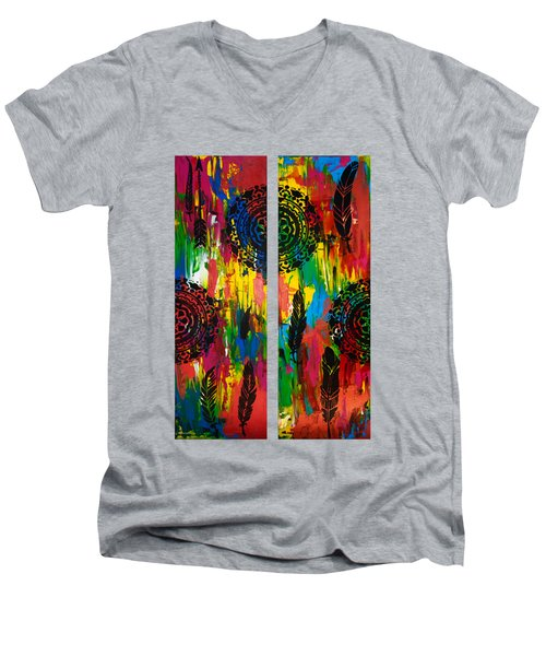 Abstract Boho Design - Diptych By Nikki And Kaye Menner Men's V-Neck T-Shirt