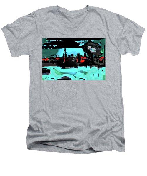 Abstract Bridge Of Lions Men's V-Neck T-Shirt