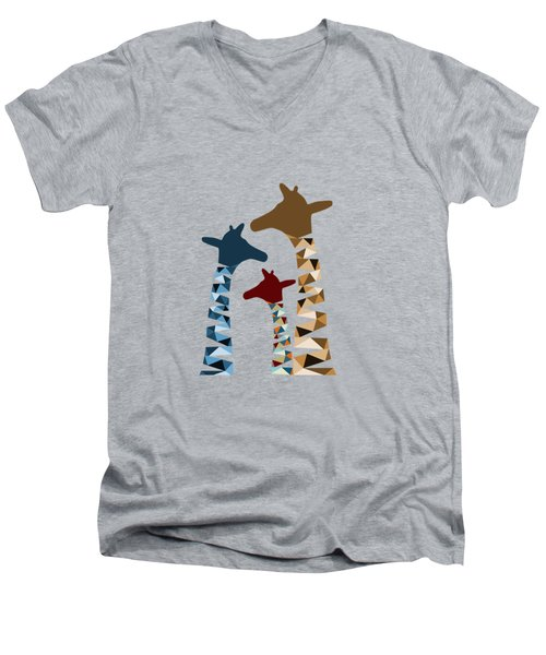 Abstract Colored Giraffe Family Men's V-Neck T-Shirt by Brigitte Carre