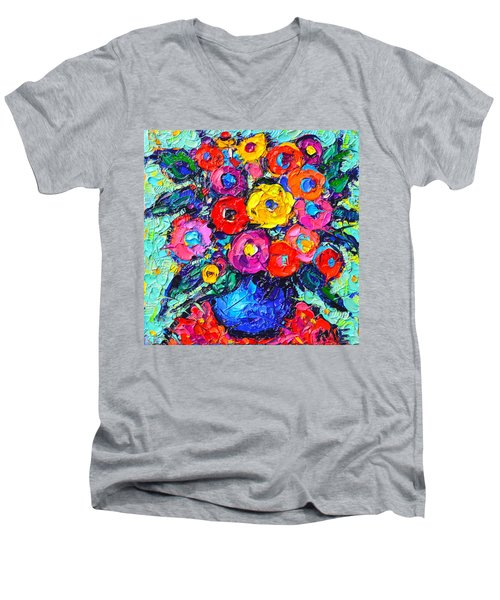 Abstract Colorful Wild Roses Modern Impressionist Palette Knife Oil Painting By Ana Maria Edulescu  Men's V-Neck T-Shirt