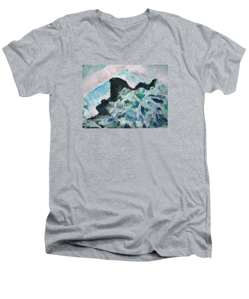 Abstract Crashing Waves Men's V-Neck T-Shirt