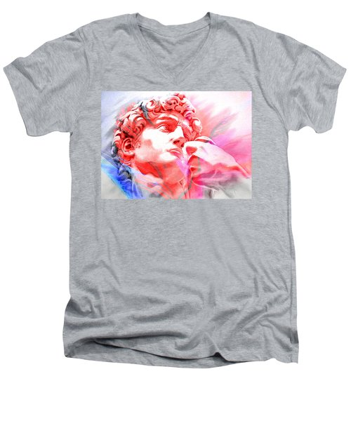 Men's V-Neck T-Shirt featuring the painting Abstract David Michelangelo 1 by J- J- Espinoza