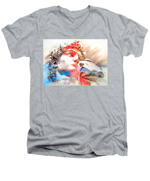 Men's V-Neck T-Shirt featuring the painting Abstract David Michelangelo 2 by J- J- Espinoza