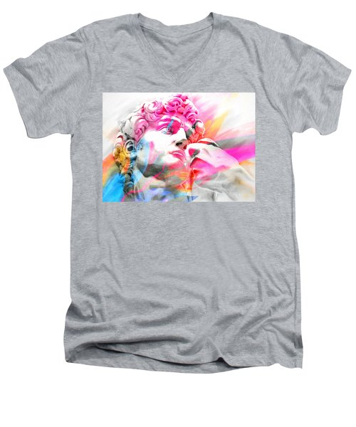 Men's V-Neck T-Shirt featuring the painting Abstract David Michelangelo 5 by J- J- Espinoza