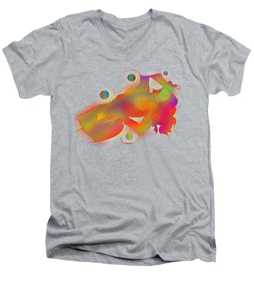 Abstract Digital Art - Limettina V1 Men's V-Neck T-Shirt