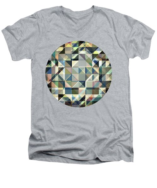 Abstract Earth Tone Grid Men's V-Neck T-Shirt by Phil Perkins