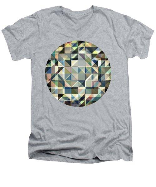 Abstract Earth Tone Grid Men's V-Neck T-Shirt