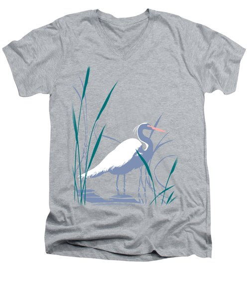 abstract Egret graphic pop art nouveau 1980s stylized retro tropical florida bird print blue gray  Men's V-Neck T-Shirt