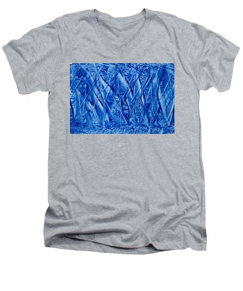 Abstract Encaustic Blues Men's V-Neck T-Shirt