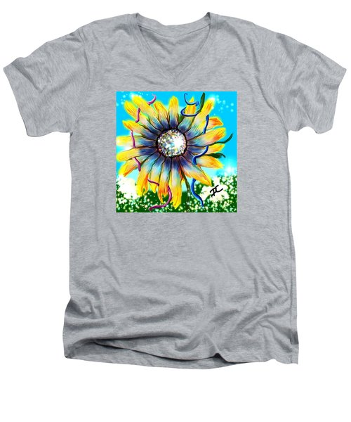 Men's V-Neck T-Shirt featuring the digital art Abstract Flower by Darren Cannell