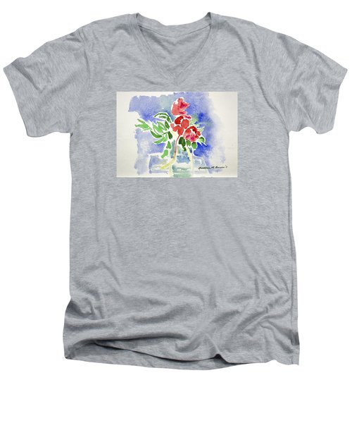 Abstract Flowers Men's V-Neck T-Shirt