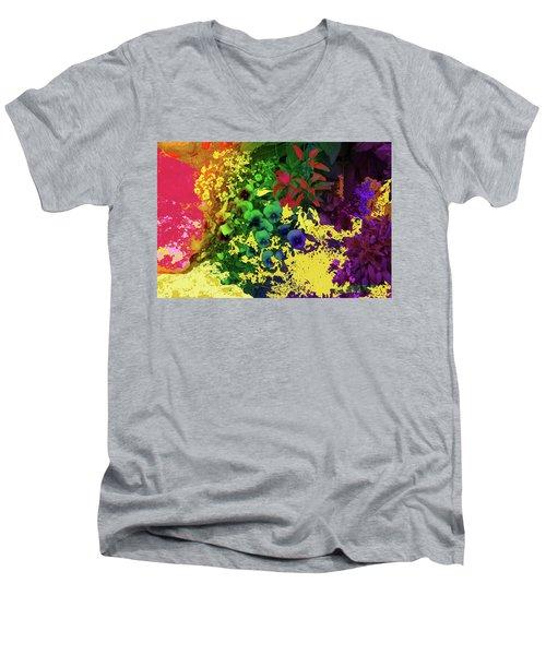 Abstract Flowers Of Light Series #2 Men's V-Neck T-Shirt