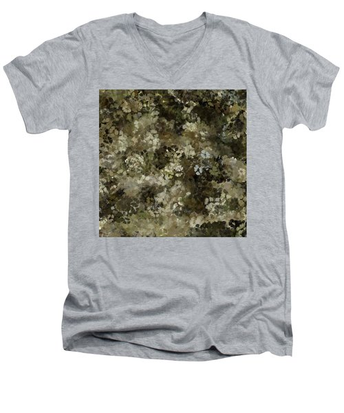 Men's V-Neck T-Shirt featuring the mixed media Abstract Gold Black White 5 by Clare Bambers