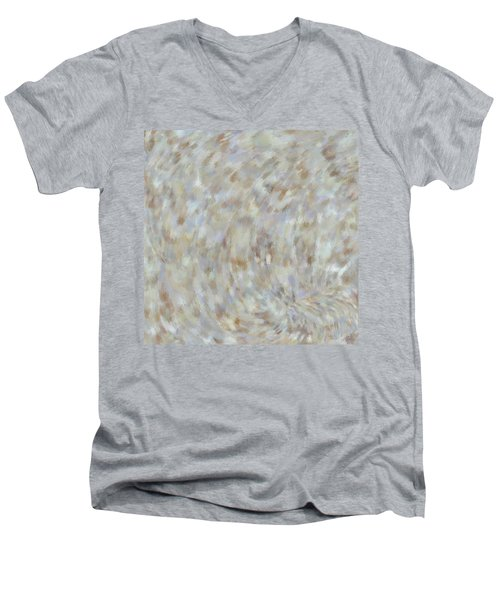 Men's V-Neck T-Shirt featuring the mixed media Abstract Gold Cream Beige 6 by Clare Bambers