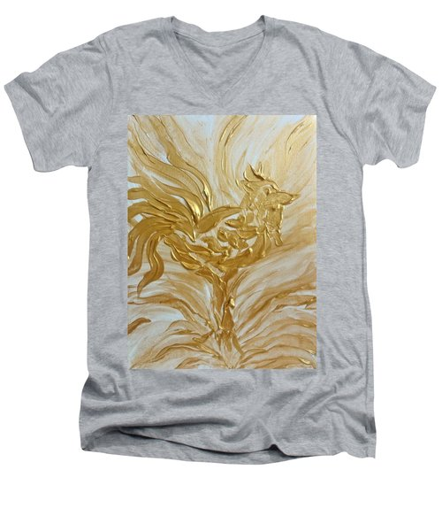Abstract Golden Rooster Men's V-Neck T-Shirt