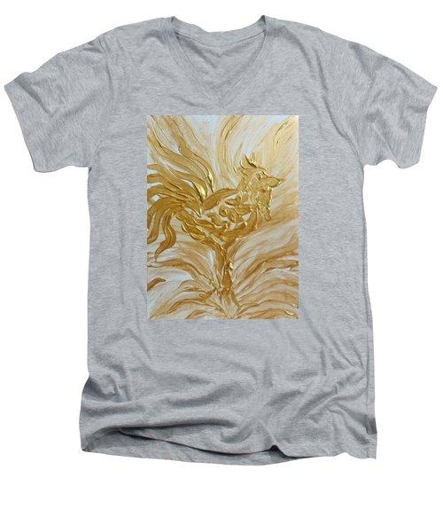Abstract Golden Rooster Men's V-Neck T-Shirt