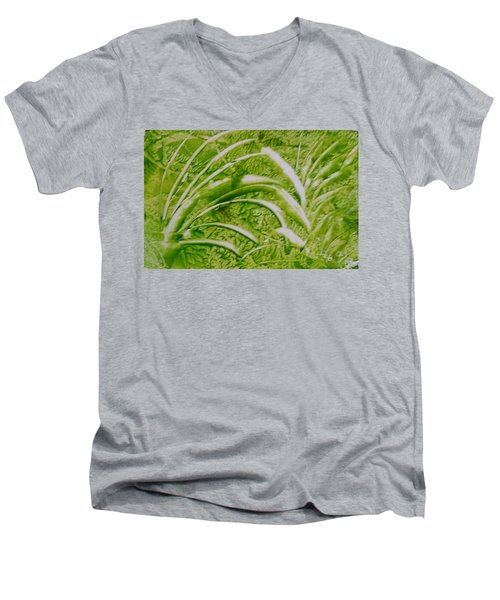 Abstract Green And White Leaves And Grass Men's V-Neck T-Shirt