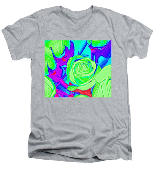 Abstract Green Roses Men's V-Neck T-Shirt