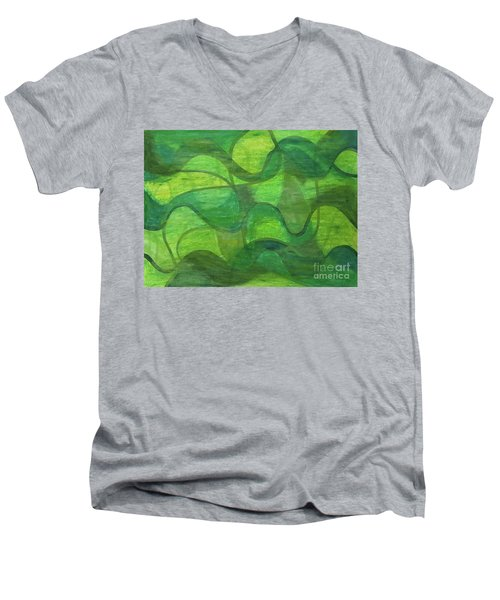 Abstract Green Wave Connection Men's V-Neck T-Shirt