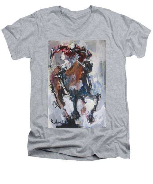 Abstract Horse Racing Painting Men's V-Neck T-Shirt by Robert Joyner