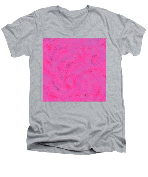 Men's V-Neck T-Shirt featuring the mixed media Abstract Hot Pink And Lilac 4 by Clare Bambers