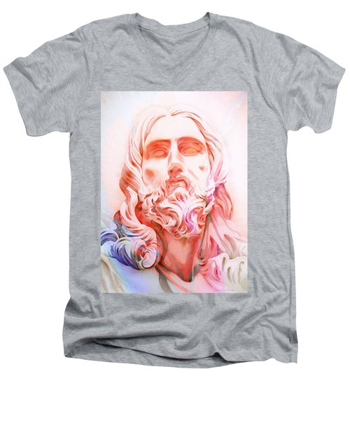 Men's V-Neck T-Shirt featuring the painting Abstract Jesus 1 by J- J- Espinoza