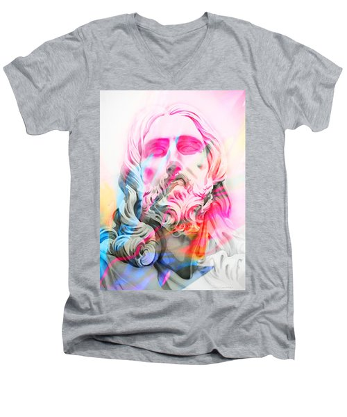 Men's V-Neck T-Shirt featuring the painting Abstract Jesus 4 by J- J- Espinoza