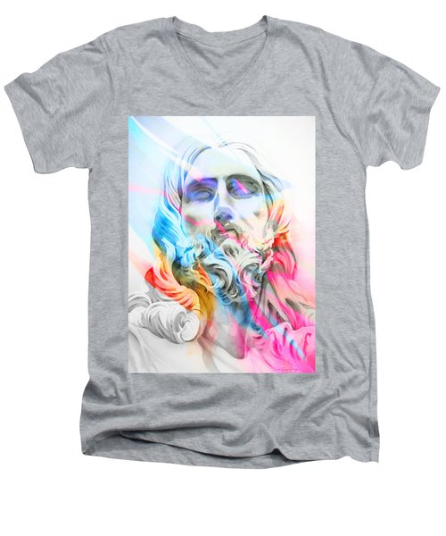 Men's V-Neck T-Shirt featuring the painting Abstract Jesus 5 by J- J- Espinoza