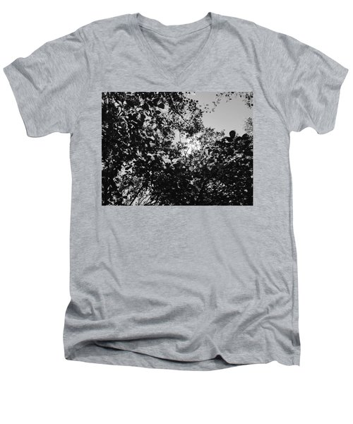 Abstract Leaves Sun Sky Men's V-Neck T-Shirt