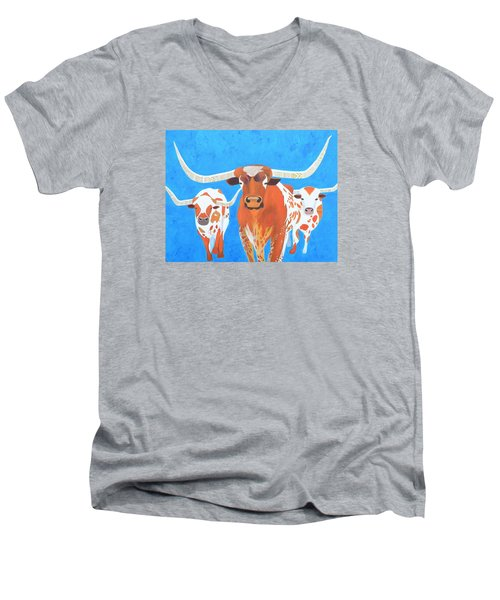 Abstract Mehndi Texas Longhorns Men's V-Neck T-Shirt