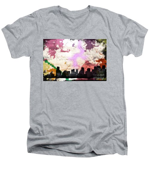 Lightning Strikes  Men's V-Neck T-Shirt by Gary Smith