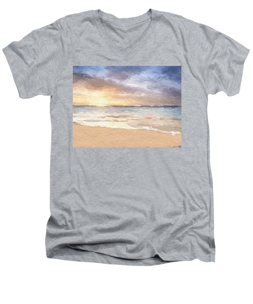 Abstract Morning Tide Men's V-Neck T-Shirt by Anthony Fishburne