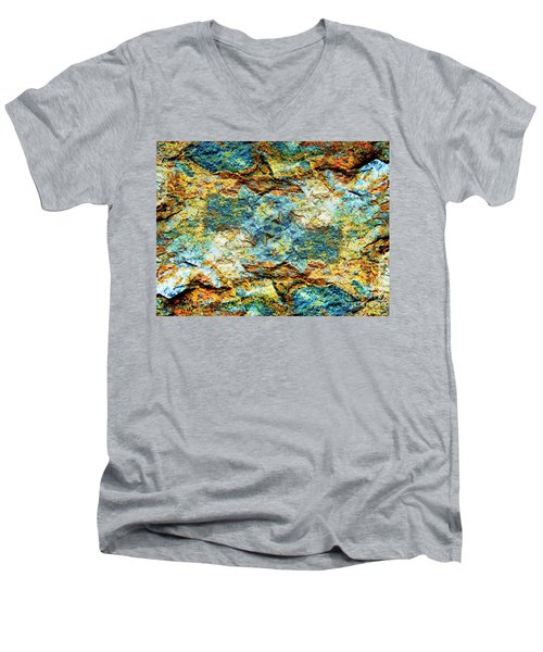 Men's V-Neck T-Shirt featuring the photograph Abstract Nature Tropical Beach Rock Blue Yellow And Orange Macro Photo 472 by Ricardos Creations