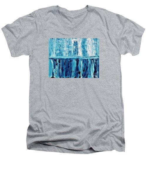 Abstract Niagra Falls Men's V-Neck T-Shirt by Marsha Heiken