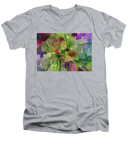 Men's V-Neck T-Shirt featuring the digital art Abstract Of Color by Deborah Benoit