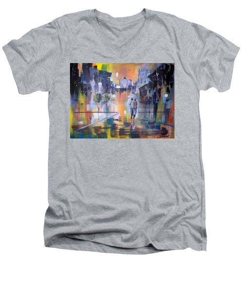 Abstract Of Motion Men's V-Neck T-Shirt by Raymond Doward