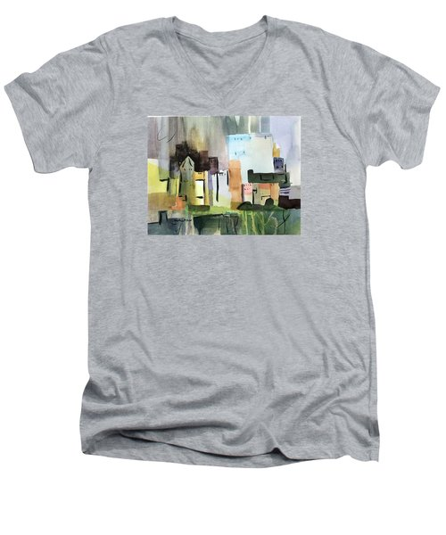 Abstract Opus 5 Men's V-Neck T-Shirt by Larry Hamilton