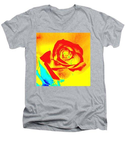 Abstract Orange Rose Men's V-Neck T-Shirt by Karen J Shine