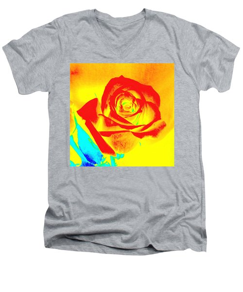 Abstract Orange Rose Men's V-Neck T-Shirt