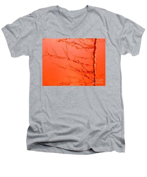 Abstract Orange Men's V-Neck T-Shirt
