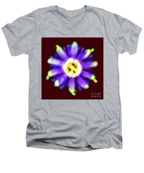 Abstract Passion Flower In Violet Blue And Green 002r Men's V-Neck T-Shirt