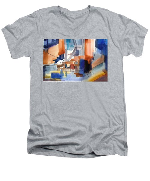 Abstract- Peggy's Cove Men's V-Neck T-Shirt by Larry Hamilton