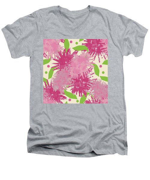 Abstract Pink Puffs Men's V-Neck T-Shirt