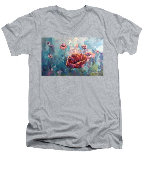 Abstract Poppy Men's V-Neck T-Shirt
