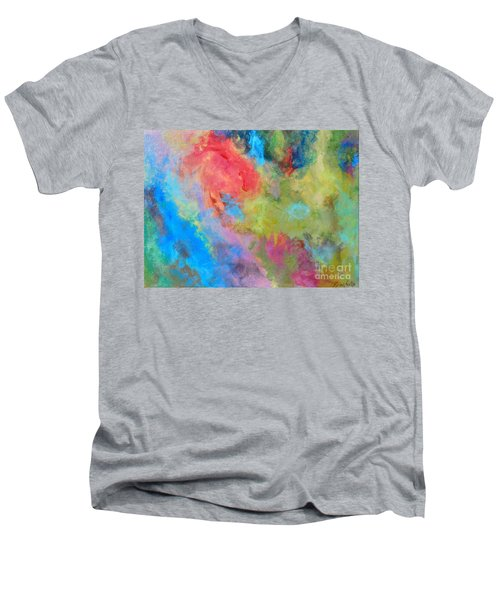 Men's V-Neck T-Shirt featuring the painting Abstract by Reina Resto