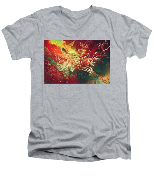 Abstract Space Men's V-Neck T-Shirt